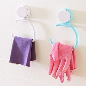 家居创意壁吸式厨卫强力无痕毛巾架 纸巾架 绿色