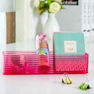 长形透明桌面杂物收纳盒 文具盒 化妆办公整理盒 C10-001 粉色