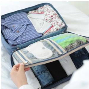 超大号手提双层衣物收纳包 卡通印花收纳袋 行李箱杆配套包 灰色