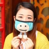 冬季韩国时尚可爱卡通保暖口罩 防PM2.5口罩 (立体两脚带拉链)BX0318 玫红色