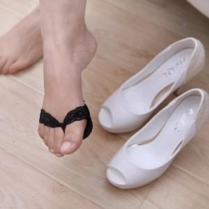 高跟鞋防滑胶底蕾丝前掌垫护脚垫(人字形) 黑色