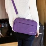 出国必备机票证件包 多功能加厚旅行帆布挎包 TRAVELUS  紫色