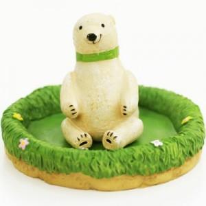 正品 创意可爱陶瓷迷你水培小盆栽 办公室微型小盆景 白熊先生