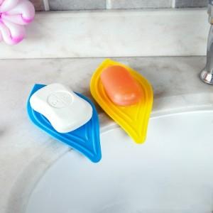 厨房清洁肥皂架沥水收纳架 树叶造型香皂架 蓝色