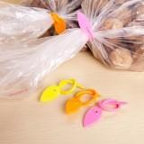 树叶硅胶塑料袋封口夹 带圆孔绕线器(五个装) 橙色