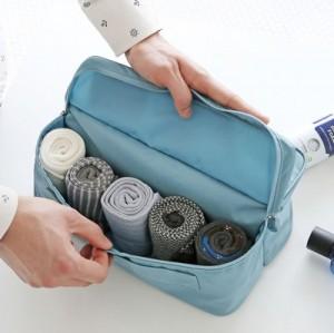高档韩版旅行收纳袋 内裤袜子手提收纳包 (塑胶牌)  藏青