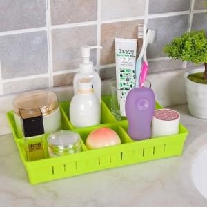 家居可自由拆装塑料材质 三格收纳盒(大号) 粉红色