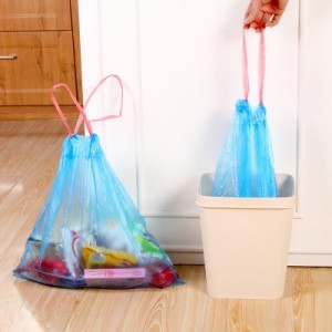 穿绳式加厚环保垃圾袋 大号(15只装) 黑色