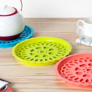 时尚多用途八角星沥水杯垫 双层多用垫 餐具垫 粉色