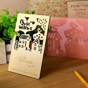 韩国文具创意深林故事木质明信片 迷你卡片 QL-0322 HAPPY EVEYDAY