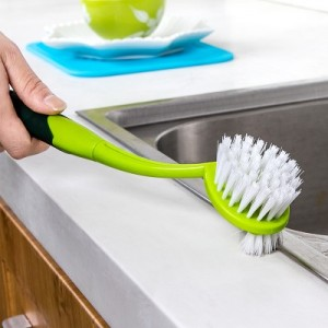 彩色加长手柄厨房双头清洁刷子 可挂式水槽刷 823 绿色
