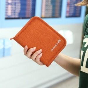出国必备机票证件包旅行多功能专用手拿包 护照包(加厚帆布短款)TRAVELUS 橙色