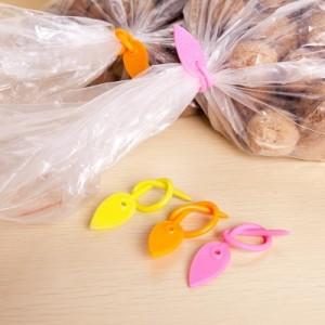 树叶硅胶塑料袋封口夹 带圆孔绕线器(五个装) 蓝色