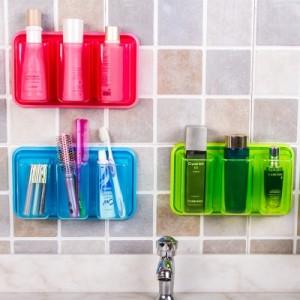 多功能置物架 厨房浴室三连收纳盒 绿色