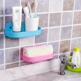 双吸盘强力置物架 浴室厨房长型沥水架 粉色
