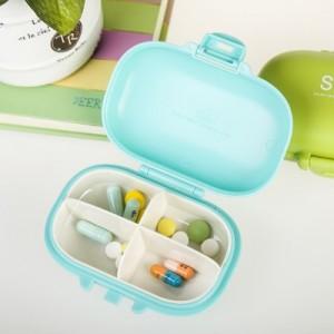 创意防水随身小药盒 清新四分隔迷你便携药盒 RB240 蓝色