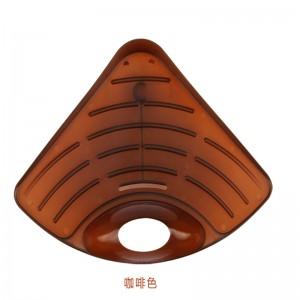 洛哈思吸盘式可沥水三角形水槽置物架--咖啡色