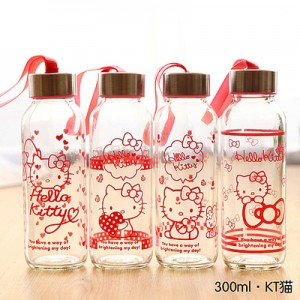 卡通便携式透明玻璃杯 带绳运动水杯 车载杯子 kt猫 300ml
