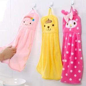 可爱卡通可挂式珊瑚绒擦手巾 厨房刺绣抹布洗碗布 粉色双子星