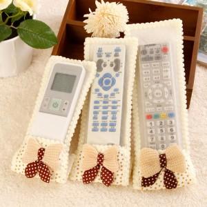 满天星蝴蝶结布艺蕾丝电视遥控器防尘套 空调遥控器保护罩/袋 黄色 多款