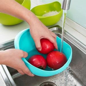 炫彩加厚厨房洗米器 淘米篮 水果盆  洗米筛  大号 蓝色 100个/箱