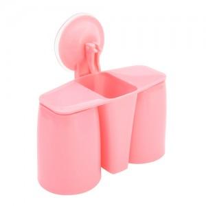 吸壁式磁性双位牙刷收纳套装--粉色