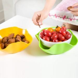 懒人双层果盆家用水果盘 现代时尚创意糖果篮撞色塑料干果盘 蓝色
