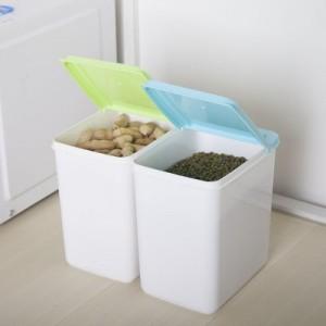 厨房杂物密封罐多功能加厚加盖储物盒(白色盒身) 蓝色
