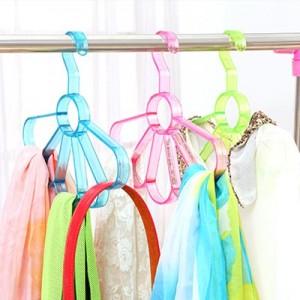 家用时尚扇形围巾丝巾架 领带架-6环 玫红