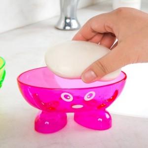 卡通可爱小人沥水透明塑料肥皂盒 创意糖果色香皂盒 沥水皂盒 绿色