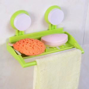 真空双吸盘厨卫可沥水收纳架--绿色