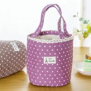 韩国棉麻波点便当包 手拎包冰包 饭盒保温包 保温袋 粉色