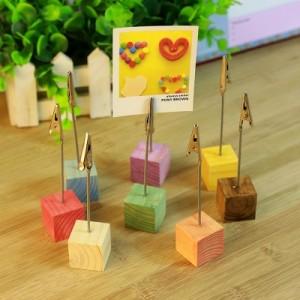 韩国复古创意时光便签夹 彩色原木留言夹 紫色