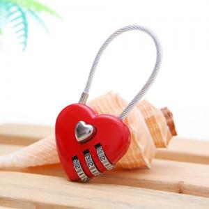 爱心造型钢丝线三位密码锁(005)