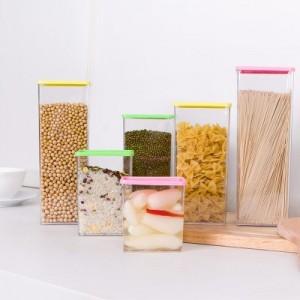 可叠加杂粮储物罐 有盖密封罐 食品保鲜盒370ml 黄色 400/件