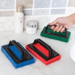 厨房强力去污带手柄海绵底清洁刷 浴室浴缸刷海绵擦瓷砖擦 绿色