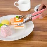 加厚不锈钢带塑胶手柄烤肉烧烤夹 夹馒头夹菜食品面包夹子 粉色