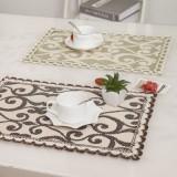 棉麻布艺餐垫 花边型隔热垫 餐桌垫 餐具垫 绿色花