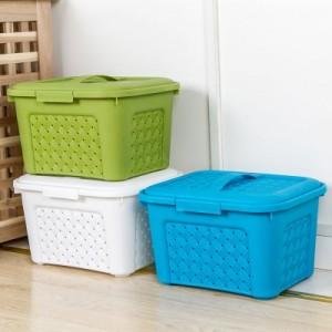 多功能 有盖 可叠加藤编收纳箱 杂物收纳箱 NO.3587 绿色