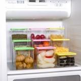 可叠加杂粮储物罐 有盖密封罐 食品保鲜盒615ml 黄色 200/件