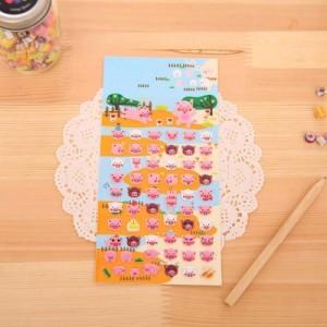 韩版创意装饰贴画 立体泡泡贴纸 可爱小猪