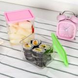 可叠加杂粮储物罐 有盖密封罐 食品保鲜盒1230ml 黄色 50/件