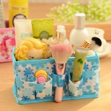 韩版多用途小碎花化妆品收纳盒/桌面收纳盒-蓝色