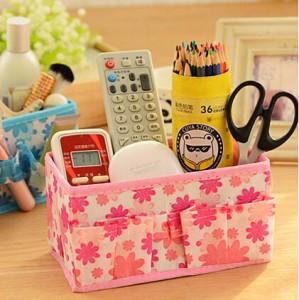 韩版多用途小碎花化妆品收纳盒/桌面收纳盒-粉色