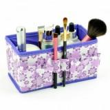 韩版多用途小碎花化妆品收纳盒/桌面收纳盒-紫色
