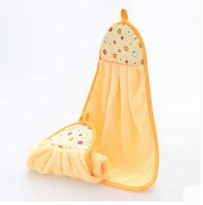 厨房挂式加厚柔软吸水擦手巾 不沾油抹布--黄色