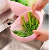 炫彩加厚厨房洗米器 淘米篮 水果盆  洗米筛  大号  粉色 100个/箱