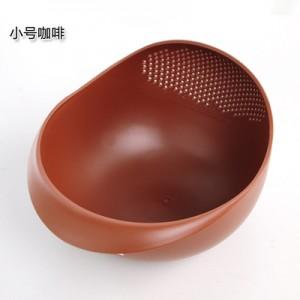 炫彩加厚厨房洗米器 淘米篮 水果盆  洗米筛  小号 咖啡  160个/箱