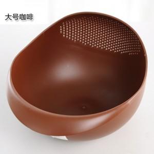 炫彩加厚厨房洗米器 淘米篮 水果盆  洗米筛  大号  咖啡 100个/箱