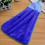 厨房挂式加厚柔软吸水擦手巾 不沾油抹布--宝蓝